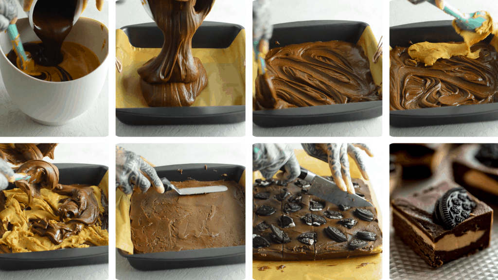collage of process shots of making swirled fudge. Pictures of pouring and mixing ingredients, smoothing out the top with a spatula and slicing the fudge into squares