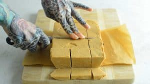 cutting a brick of fudge into squares