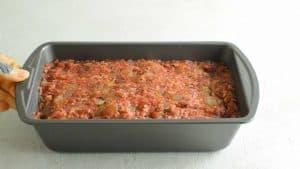 raw venison meatloaf in loaf pan